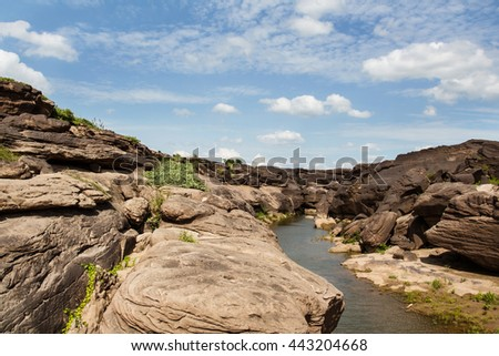 Sampanbok (3000 Hole), The Amazing of Rock in Mekong River, Ubon - stock photo
