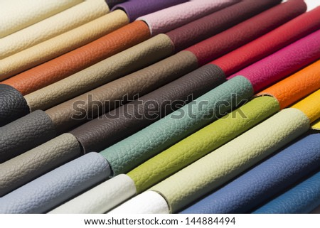 sample - a good quality leather in various colors - stock photo