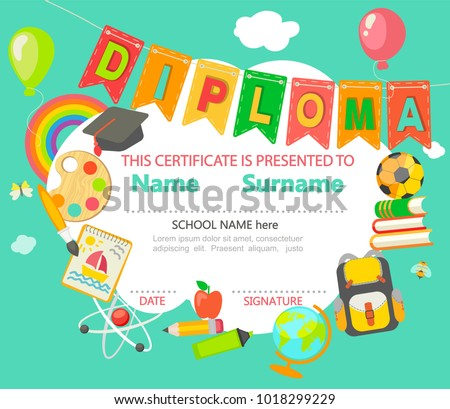 Sample diploma certificate kindergarten preschool elementary sample diploma and certificate for kindergarten preschool elementary school and other kids with different yelopaper Images