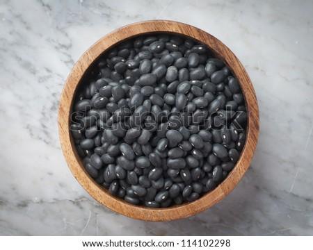 sample dry black beans - stock photo