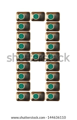 Sample eight numbers of metal on a white background closeup - stock photo