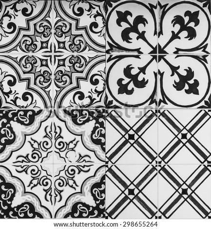 sample of ceramic tile texture - collage design wall bathroom indoor outdoor handcraft pattern background - stock photo