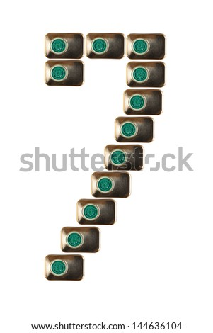 Sample seven numbers of metal on a white background closeup - stock photo