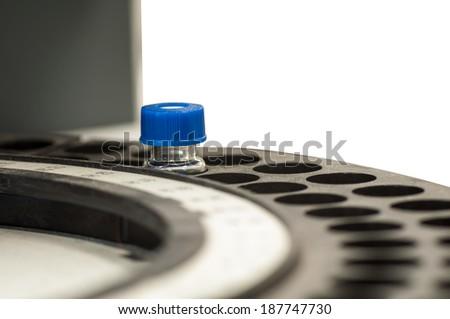 Sample vial in line - stock photo