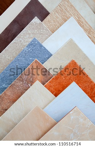 Samples of a ceramic tile in shop - stock photo