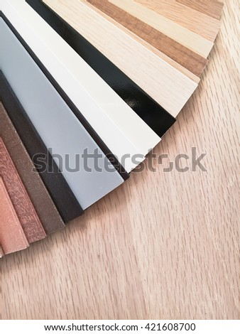 Samples of wood for blinds in a homeware store