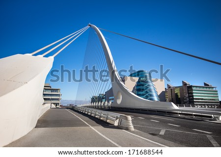 Samuel Beckett Bridge Dublin Ireland - stock photo