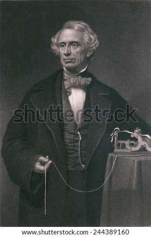 Samuel F. B. Morse (1791-1872), inventor of the magnetic telegraph. Steel engraving by John Sartan. - stock photo