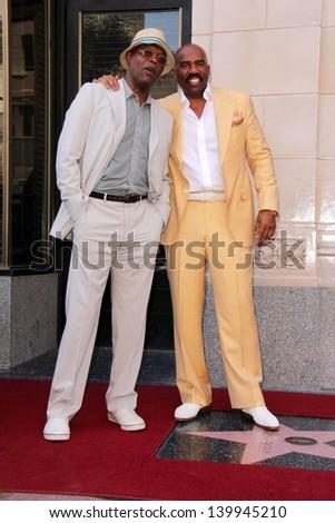 Samuel L. Jackson, Steve Harvey at the Steve Harvey Star on the Hollywood Walk of Fame, Hollyood, CA 05-13-13 - stock photo