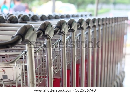 Samui, Thailand - Februaty 26,2016. Airport carts at Samui Airport at departure section in a very busy day.