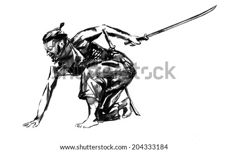 Samurai. Japanese man with a sword in his hand. Ink on paper drawing.  - stock photo