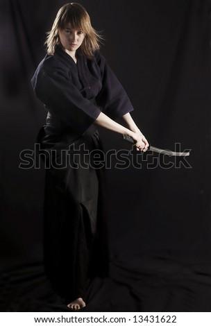 samurai on black - stock photo