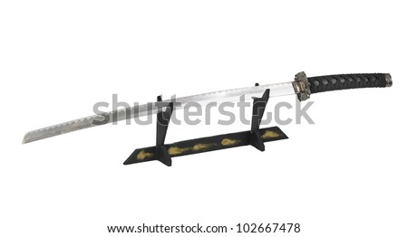 Samurai sword on a stand isolated - stock photo