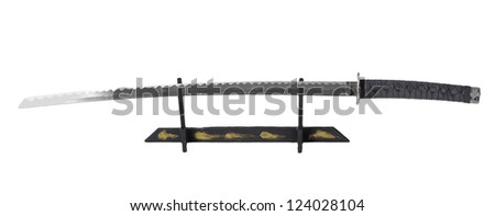 Samurai sword on stand isolated over white - stock photo