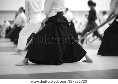 Samurai warriors with swords - stock photo