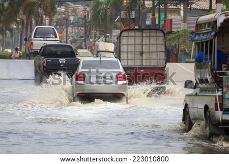 Samut Prakan, Thailand August 27, 2014: There was flooding on the street near the market in Bang Pu Industrial Estate after a very heavy rain.  - stock photo