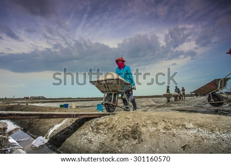 SAMUT-SAKHON, JUNE 5 : Unidentify Thai's labor are moving mound of salt into a warehouse for sell at salt farm on June 5, 2015 in Samut Sakhon. Salt farm is agriculture in seaside town in  Thailand.