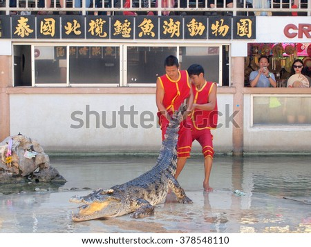 Samutprakarn,Thailand - April 18, 2015 : crocodile show at crocodile farm .This exciting show is very famous among tourist and Thai people - stock photo