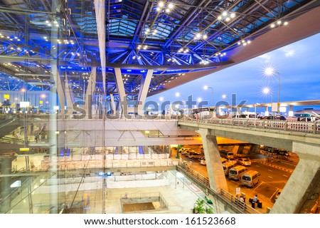 SAMUTPRAKARN, THAILAND- SEP 21 : Architecture of Suvarnabhumi Airport in Thailand on Sep 21, 2013. Suvarnabhumi was officially opened for most domestic and all international flights on Sep 28, 2006. - stock photo