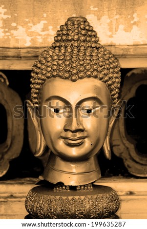 SAMUTPRAKRAN-THAILAND-APRIL13 : Head of buddha statue in Thai temple, Buddha is the worship of Thai Buddhist on April 13, 2014, Thailand