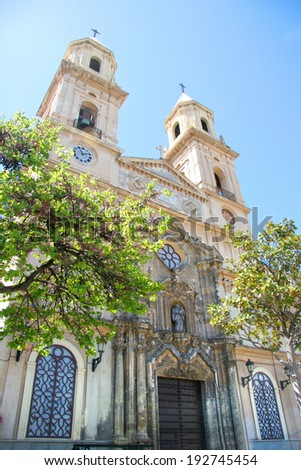 San Antonio church, situated in Plaza San Antonio, which is considered to be Cadiz's main square, Cadiz, Andalusia, Spain. - stock photo