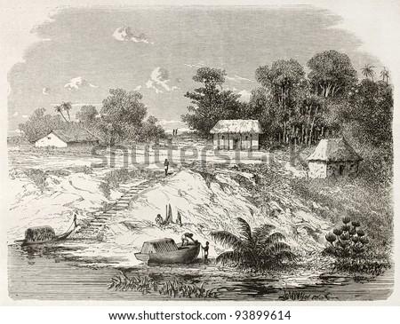 San Antonio de Ica old view, Brazil. Created by Riou, published on Le Tour du Monde, Paris, 1867 - stock photo