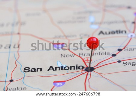 San Antonio pinned on a map of USA  - stock photo
