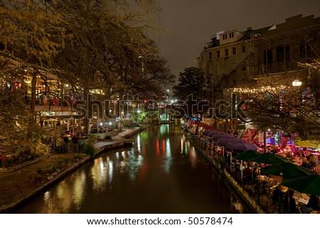 San Antonio Texas River Walk at night - stock photo