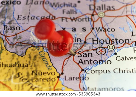 San Antonio Texas Usa Pinned Map Stock Photo Shutterstock - San antonio texas on us map