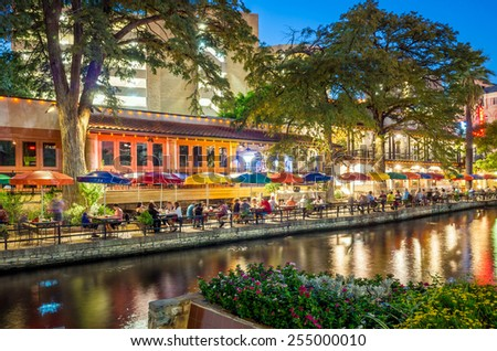 SAN ANTONIO, TEXAS, USA - SEP 28: Section of the famous Riverwalk on September 28, 2014 in San Antonio, Texas. A bustling place with many restaurants and bars. - stock photo