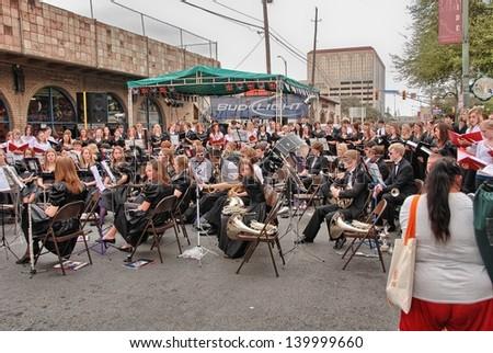 SAN ANTONIO, TX - MAR 15: Tourists enjoy city streets during Alamo Irish Festival, March 15, 2008 in San Antonio, TX. Festival is held from March 14-16. - stock photo