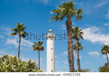 San Benedetto del Tronto lighthouse on the palm trees. Marche, Italy.