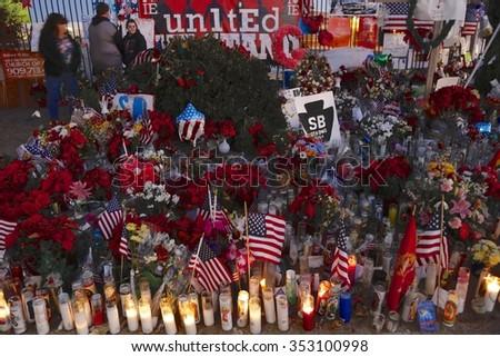 SAN BERNARDINO, CA. DECEMBER 17, 2015, A makeshift memorial at the Inland Regional Center (IRC) in San Bernardino, CA. San Bernardino shooting aftermath in San Bernardino, CA. - stock photo