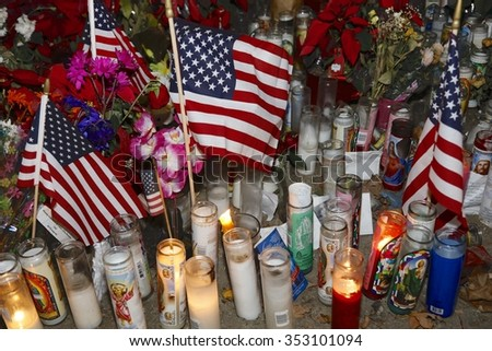 SAN BERNARDINO, CA. DECEMBER 17, 2015, A makeshift memorial at the Inland Regional Center (IRC) in San Bernardino, CA. San Bernardino shooting aftermath in San Bernardino, CA. - stock photo