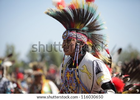SAN BERNARDINO, CALIFORNIA - OCTOBER 13: The San Manuel Band of Indians hold their annual Pow Wow on October 13, 2012 in San Bernardino. The colorful hair roach used to be made of porcupine hair.