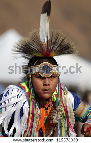 SAN BERNARDINO, CALIFORNIA, USA, OCTOBER 13, 2012.  The San Manuel Band of Indians hold their annual Pow Wow in San Bernardino on October 13, 2012. Dances include the Grass, Chicken and Fancy dances. - stock photo