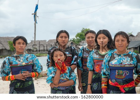 SAN BLAS ISLANDS - CIRCA JUNE 2006. Unknown native Kuna Indian women dressed  in native cerimonial attire in the San Blas Islands, panama, CIRCA June 2006.