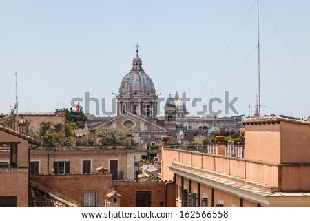 San Carlo al Corso view from top of Spanish Steps - stock photo