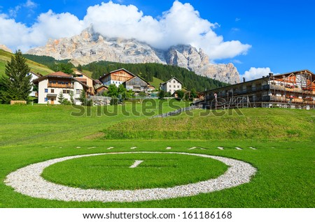 SAN CASSIANO, SOUTH TYROL: Sep 25: Landing area for helicopter of luxury alpine hotel in San Cassiano village on Sep 25, 2013, The Dolomites Mountains, Italy. - stock photo