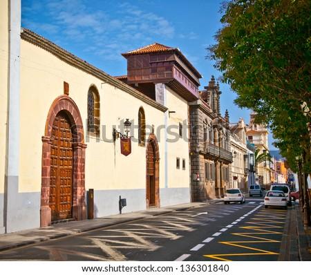 San Cristobal de La Laguna street in Tenerife , Spain. - stock photo