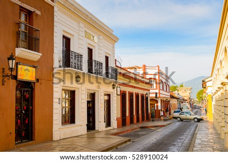 SAN CRISTOBAL DE LAS CASAS, MEXICO - NOV 1, 2016: Colorful architecture of San Cristobal de las Casas, town located in the Central Highlands region of the  state of Chiapas, Mexico