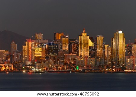 San Diego at beautiful sunset - stock photo