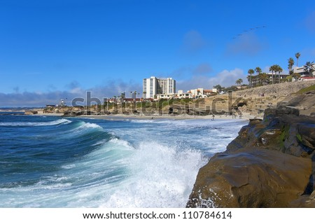 San Diego Beach View (Pacific Ocean, La Jolla) - stock photo