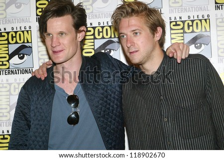 SAN DIEGO, CA - JULY 15: Matt Smith and Arthur Darvill arrive at the 2012 Comic Con convention press room at the Bayfront Hilton Hotel on Sunday, July 15, 2012 in San Diego, CA. - stock photo