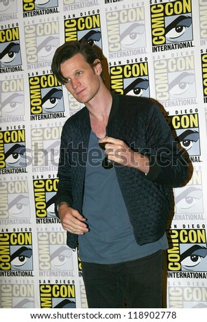 SAN DIEGO, CA - JULY 15: Matt Smith arrives at the 2012 Comic Con convention press room at the Bayfront Hilton Hotel on Sunday, July 15, 2012 in San Diego, CA. - stock photo