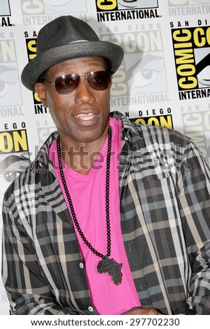 "SAN DIEGO, CA - JULY 9: Wesley Snipes arrives at the 2015 Comic Con press room for ""The Player"" at the Hilton San Diego Bayfront hotel on July 9, 2015 in San Diego, CA. - stock photo"