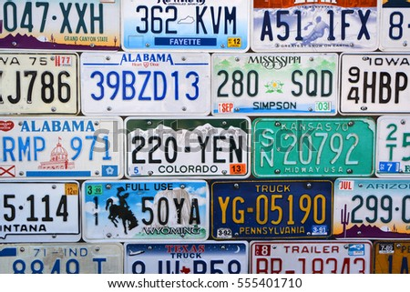 SAN DIEGO CA USA 04 08 2015: American vehicle registration plate is a metal or plastic plate attached to a motor vehicle or trailer for official identification purposes.