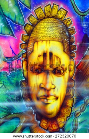 SAN DIEGO CA USA APRIL 7 Aztec god mural in Balboa Park vibrant WorldBeat Cultural Center on april 7 2015 in San Diego CA USA - stock photo