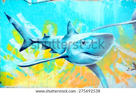 SAN DIEGO CA USA APRIL 8 2015: Mural shark San Diego is the perfect place to walk in the back alleys and abandoned areas, looking for street art.