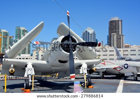 SAN DIEGO CA USA APRIL 07 2015: The Douglas A-1 Skyraider (formerly AD) was an American single-seat attack aircraft that saw service between the late 1940s and early 1980s. - stock photo